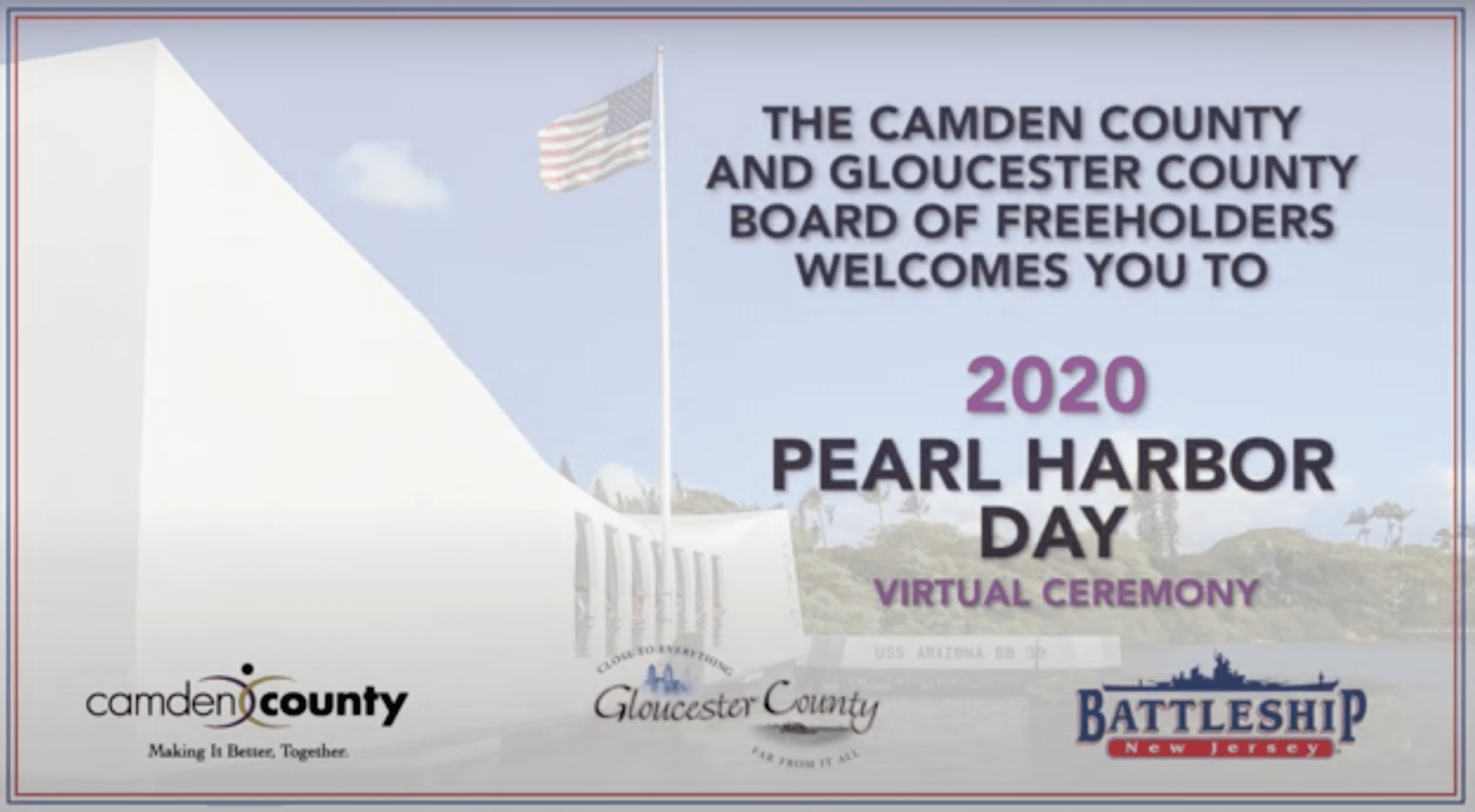 Gloucester County and Camden County Pearl Harbor Day Ceremony