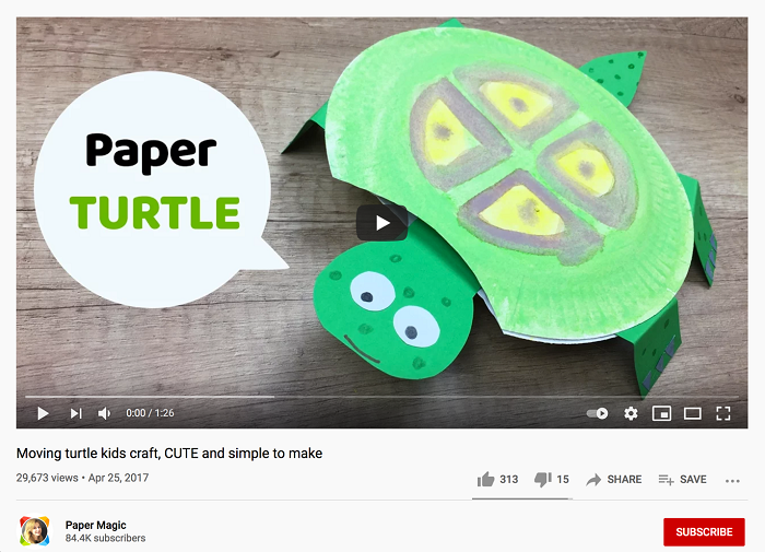A turtle craft project made from paper.